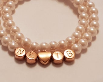 Enchanting white pearl bracelet with rose NKOTB beads Name bracelet / name as desired - personalized