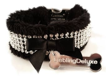 """Collar """"LIEBLING deLUXE"""" - Glamorous black collar with BlingBling and soft upholstery"""