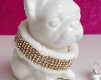"""Collar """"LIEBLING deLUXE"""" - Glamorous white collar with BlingBling and soft upholstery"""