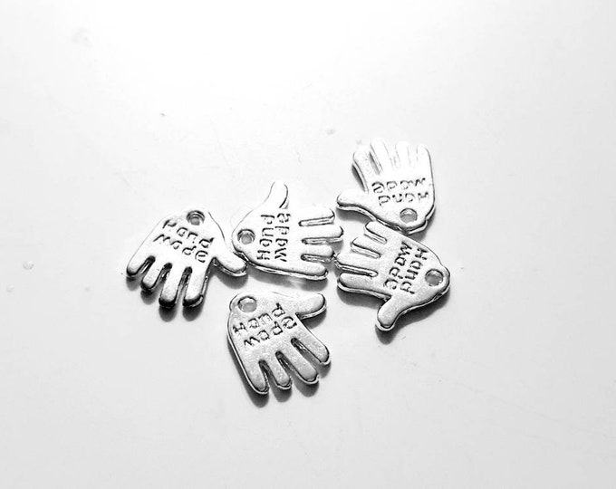 """Tag """"Handmade"""" silver color for a handmade project - set of 10"""