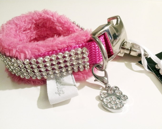 """Collar """"LIEBLING deLUXE"""" - Glamorous pink collar with BlingBling and soft upholstery"""