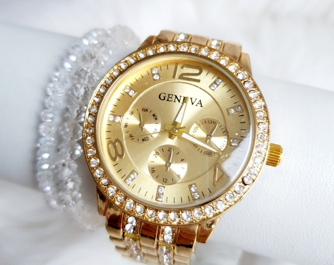 Sparkling watch in two sizes