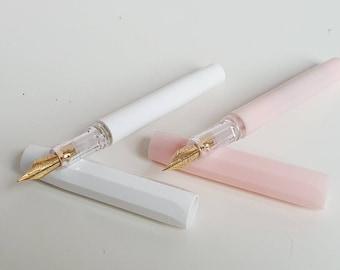 Fountain Pen white or blush pink- Füllfederhalter