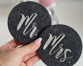 Mr. & Mrs Glass coasters made of felt in a pack of 2 for birthdays, weddings, events, home or just for fun
