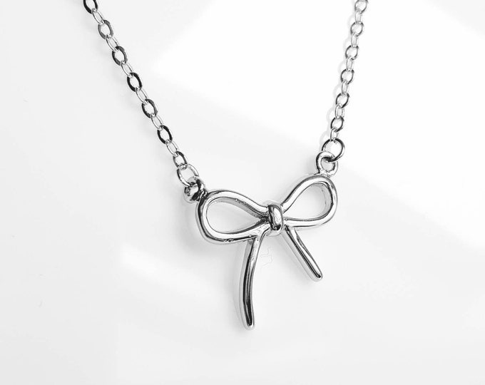 Necklace Bow in 925 Silver, 45cm
