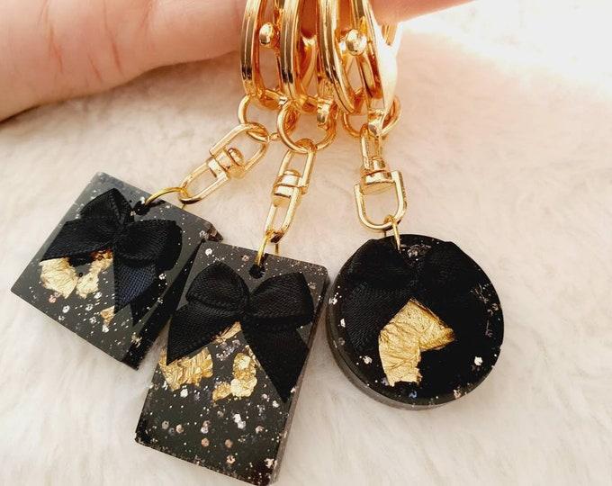 Golden Planner Accessories Keychain Glitter Bow