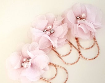 Planner Bookmark with beautiful light pink or white Flower, Pearl and Rhinestones