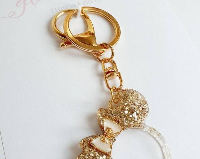 Golden Planner Accessories Keychain Glitter Minnie