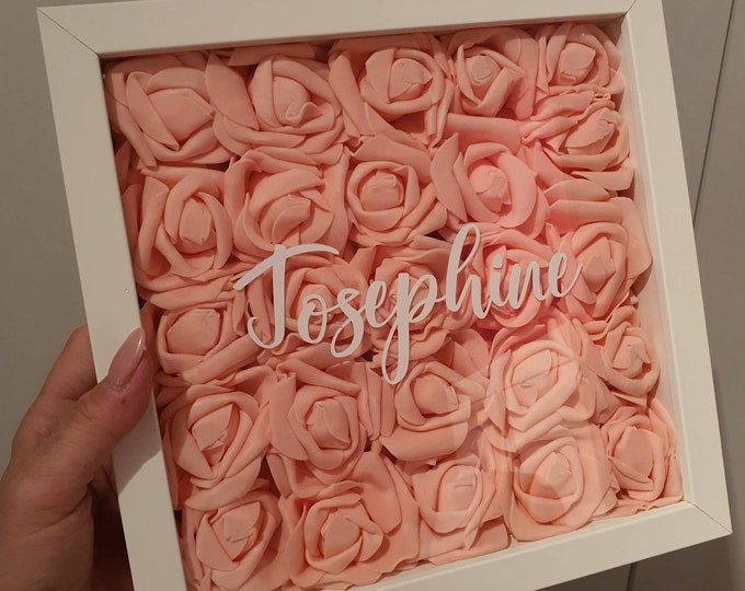 Handmade customizable Shadow Box Foam Roses Wedding Anniversary Gift Mothers Day Mom Baby Love Bridesmaid Gift Birthday Gift 10x10