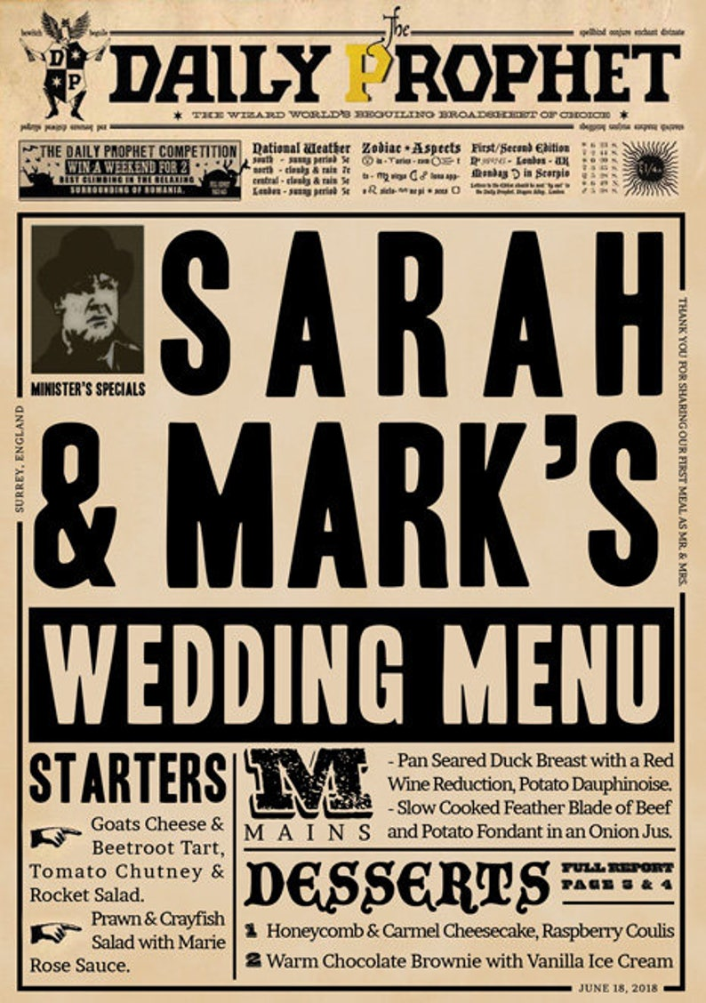 ec5e3571d1fc Wizards Magic Daily Newspaper Wedding Party Menu Save the | Etsy