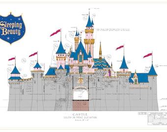 Disneyland - Sleeping Beauty Castle - Front Elevation - Digital Download