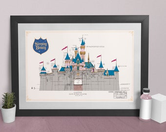 Disneyland - Sleeping Beauty Castle - Front Elevation - Colored Poster
