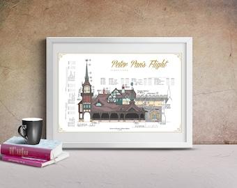 Disneyland - Peter Pan's Flight - Colorized Blueprint