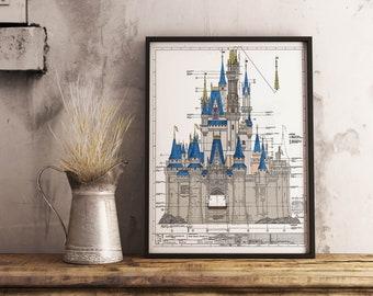 Walt Disney World - Cinderella Castle Colored Blueprint