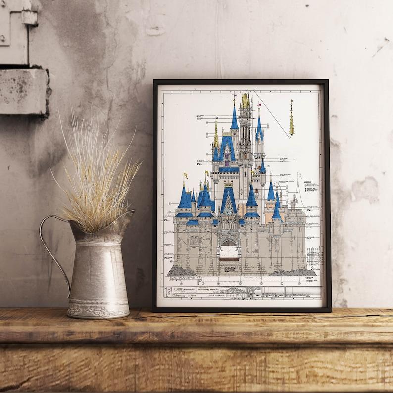 Walt Disney World  Cinderella Castle Colored Blueprint image 0