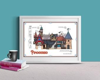 Disneyland - Fantasyland - Pinocchio's Daring Journey - Colored Blueprint