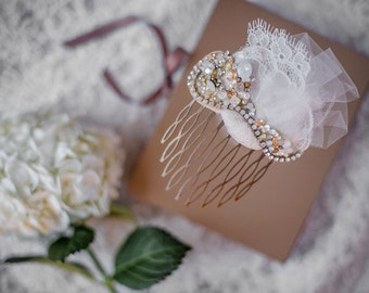 Swarovski Crystal Custom Bridal Fascinator Comb with Opal, Gold & Chantilly Lace by Abby Shepard