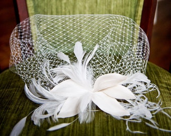 Ivory Silk Flower Petal Bird Cage Veil with Crystals & Feathers