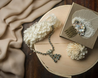 Swarovski Crystal Custom Fascinator Comb in Crystal, Pearl, Gold & Lace with Delicate Organic Leaf Detail by Abby Shepard