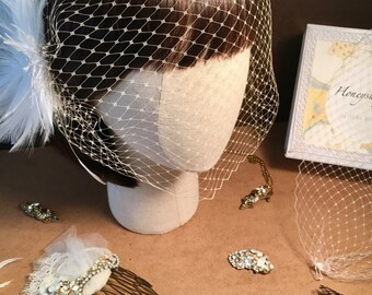 "9"" French Net, Russian Tulle Custom Bandeau Birdcage Veil"