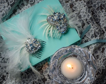 Swarovski Crystal Bridal Fascinator Combs in Crystal, Pearl, Silver & Ice Blue w/Chantilly Lace, Feather and Tulle, 2 Styles by Abby Shepard
