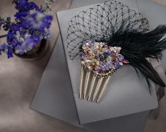 Swarovski Crystal Custom Fascinator Comb in Lavender, Amethyst, Purple, Gold, Vintage Brass & Black Feather by Abby Shepard -Kentucky Derby