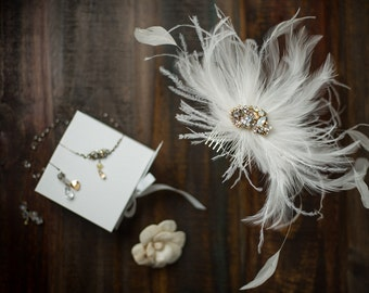 Swarovski Crystal Custom Fascinator Comb in White, Pearl, Opal & Gold with Romantic, Dramatic Feather Accent by Abby Shepard