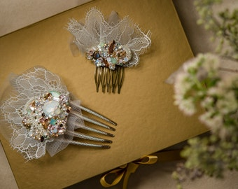 Swarovski Crystal Custom Bridal Fascinator Comb Set - Crystal, Pale Green, Mint, Opal, Vintage Gold w/Chantilly Lace & Tulle by Abby Shepard