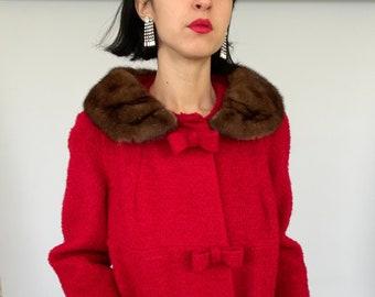 Fur Trim Coat Geometric Winter Coat 50s Swing Coat Small Size 6 US 10 UK B350 Rockabilly Coat Vintage 60s Wool Coat Fur Collar Coat