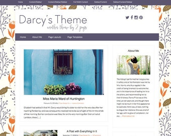 Vintage Wordpress Theme, Blog template, Design for Bloggers, Purple Wordpress Template