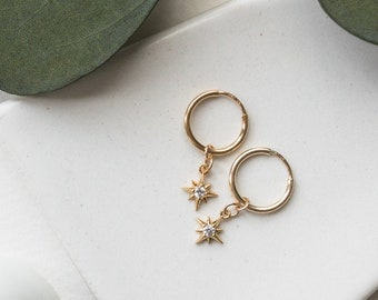 14k Gold Filled Mini North Star CZ Hoop Huggies, Dainty Delicate Earrings, Simple Boho Layering Earrings, Bridal Best Friend Girlfriend Gift