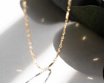 Gold Filled Bar Link Chain Necklace, Layering Delicate Necklace, Dainty Choker, Festival Boho Necklace, Bridesmaid Bridal Girlfriend Gift
