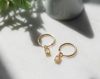 14k Gold Filled Tiny Sparkling Emerald Cut CZ Hoop Huggies, Dainty Delicate Earrings, Wedding Jewelry, Bridal Best Friend Girlfriend Gift