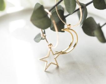 Bold 14K Gold Filled Star Moon Skinny, Large Dainty Delicate Earrings, Asymmetric Layering Earrings, Bridal Best Friend Girlfriend Gift