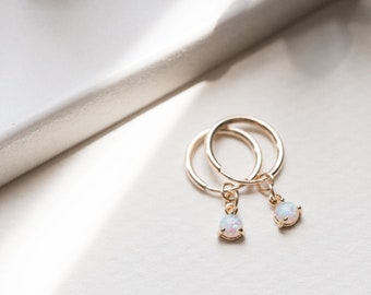 14k Gold Filled Tiny Opal Hoop Huggies, Dainty Delicate Stack Earrings, Simple Boho Layering Earrings, Bridal Best Friend Girlfriend Gift