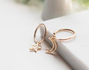 Celestial 14K Gold Filled Star Moon Hoop Huggies, Dainty Delicate Earrings, Asymmetric Layering Earrings, Bridal Best Friend Girlfriend Gift