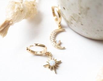 Tiny Celestial Opal Sun Moon Huggies, 14k Gold Plated Dainty Delicate Hoops, Asymmetric Layer Earrings, Bridal Best Friend Girlfriend Gift