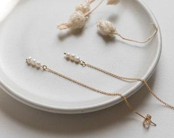 14k Gold Filled Pearl String Hoop Thread Earrings, Dainty Delicate Earrings, Simple  Layering Earrings, Bridal Best Friend Girlfriend Gift