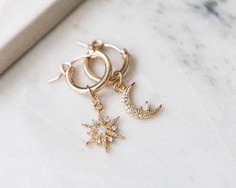 14k Gold Filled Celestial Opal Star Moon Huggies, Dainty Delicate Earrings, Asymmetric Layering Earrings, Bridal Best Friend Girlfriend Gift