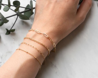 Gold Filled Layering Chain Bracelet, Paper Clip Chunky Dainty Box Curb Chain Bracelet, Simple Stacking Bracelet, Girlfriend Best Friend Gift