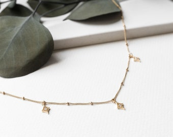 Cluster Necklace 14k White Gold//Yellow Gold Plated Over 18 Chain SilverDew CZ Diamond Necklace Bridesmaid Necklace Wedding Necklace Unique Necklace