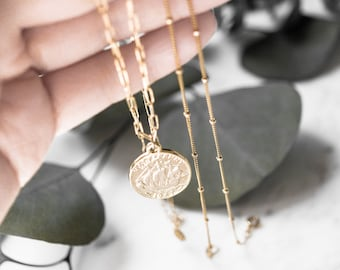 14k Gold Filled Layered Vintage Coin Necklace Set, Tiny Satellite Bead Delicate Necklace, Pair Dainty Choker, Personal Best Girlfriend Gift