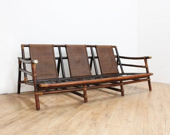 Ficks Reed Furniture  Rattan Sofa By John Wisner  Far Horizons, Brass,  Bamboo