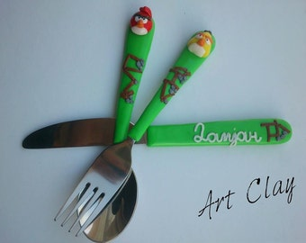 Unique Child's Gift Idea Polymer Clay Set, Angry Birds Spoon, Fork and Knife, Customized Cutlery Set Angry Birds, Handmade