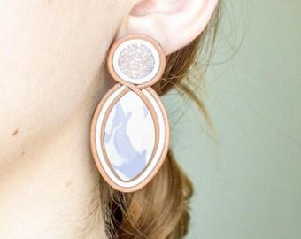 Druzy oorbellen grote verklaring oorbellen Big Earrings Pastel oorbellen Stud grote Stud Oorbellen bruids oorbellen Studs bruidsmeisje cadeau-ideeën
