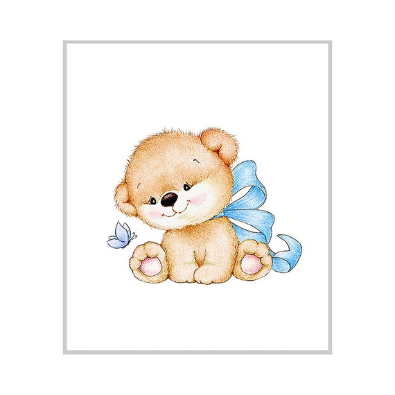 Teddy Bear Nursery Art Print Children Wall Decor Kids Wall Etsy