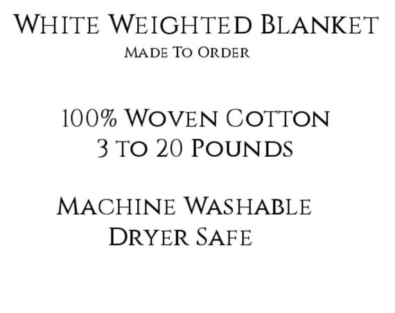 Solid Color, Weighted Blanket, White, Up to Twin Size 3 to 20 Pounds.  Calming, Heavy Blanket, SPD, Autism, Weighted Blanket.