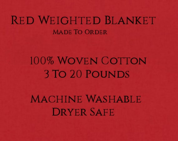 Solid Color, Weighted Blanket, RED, Up to Twin Size 3 to 20 Pounds.  Calming, Heavy Blanket, SPD, Autism, Weighted Blanket.