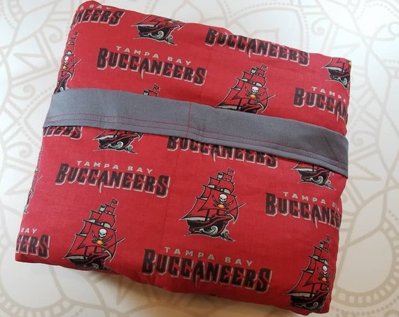 READY to SHIP, Weighted Blanket, 40x80-10 Pounds, Football Cotton Front, Gray Woven Cotton Back, Sensory Blanket, Calming Blanket,