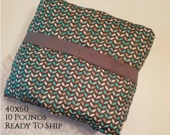 READY to SHIP, Weighted Blanket, 40x60-10 Pounds, Teal Gray Leaves Front, Gray Back, Sensory Blanket, Calming Blanket,